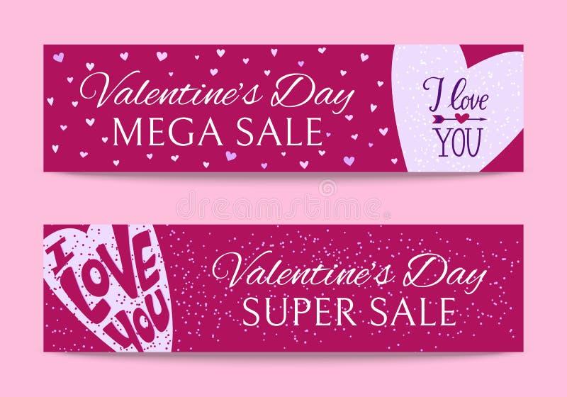 Illustrazione felice di vettore delle insegne di giorno di biglietti di S. Valentino Ti amo Festa romantica per le coppie degli a royalty illustrazione gratis
