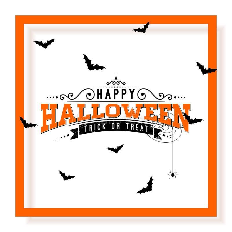 Illustrazione felice di vettore di Halloween con l'iscrizione di tipografia, i pipistrelli di volo ed il ragno su fondo bianco fe royalty illustrazione gratis
