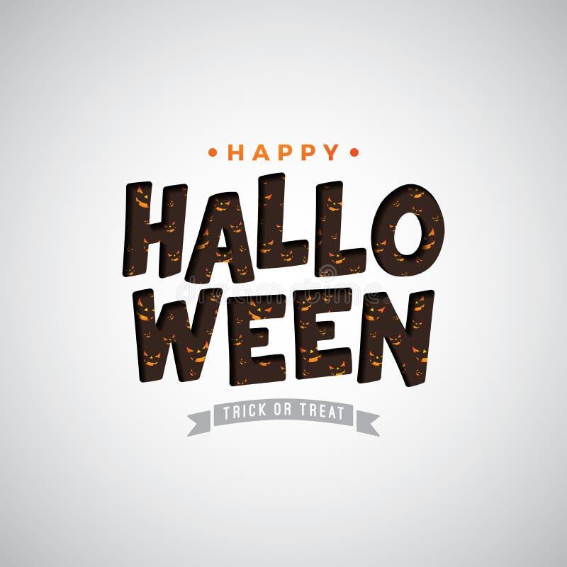Illustrazione felice di vettore di Halloween con l'iscrizione di tipografia sul fondo bianco Progettazione di festa per la cartol royalty illustrazione gratis