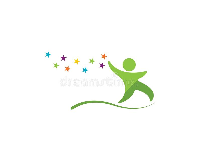 Illustrazione felice di vettore di logo dei bambini illustrazione vettoriale