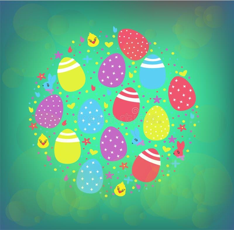 Illustrazione felice di vettore di Pasqua sotto forma di un cerchio su un fondo colorato per Pasqua immagini stock libere da diritti