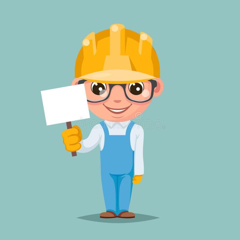 Illustrazione felice di vettore di progettazione di personaggio dei cartoni animati di approvazione di sostegno del costruttore d illustrazione di stock