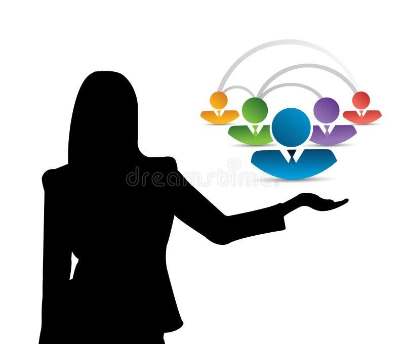 illustrazione femminile di concetto di presentazione della comunità illustrazione di stock