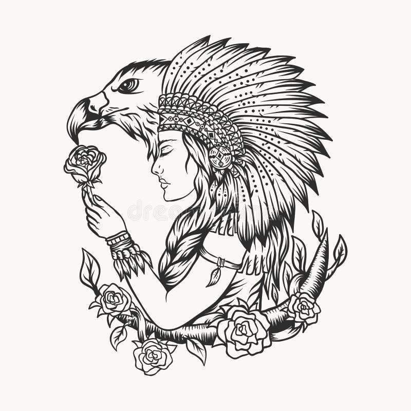 Illustrazione femminile di vettore dell'aquila del nativo americano royalty illustrazione gratis