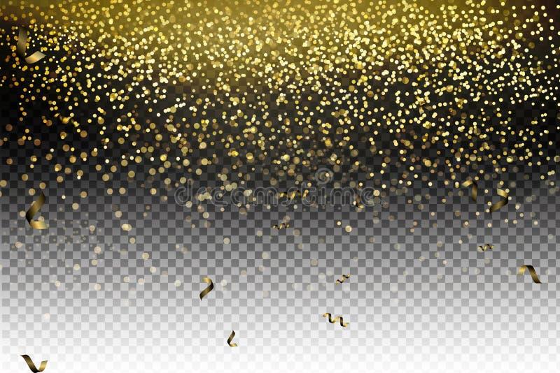 Illustrazione festiva di vettore delle particelle brillanti di caduta, scintilli dorati dei coriandoli, stelle isolate su fondo t royalty illustrazione gratis
