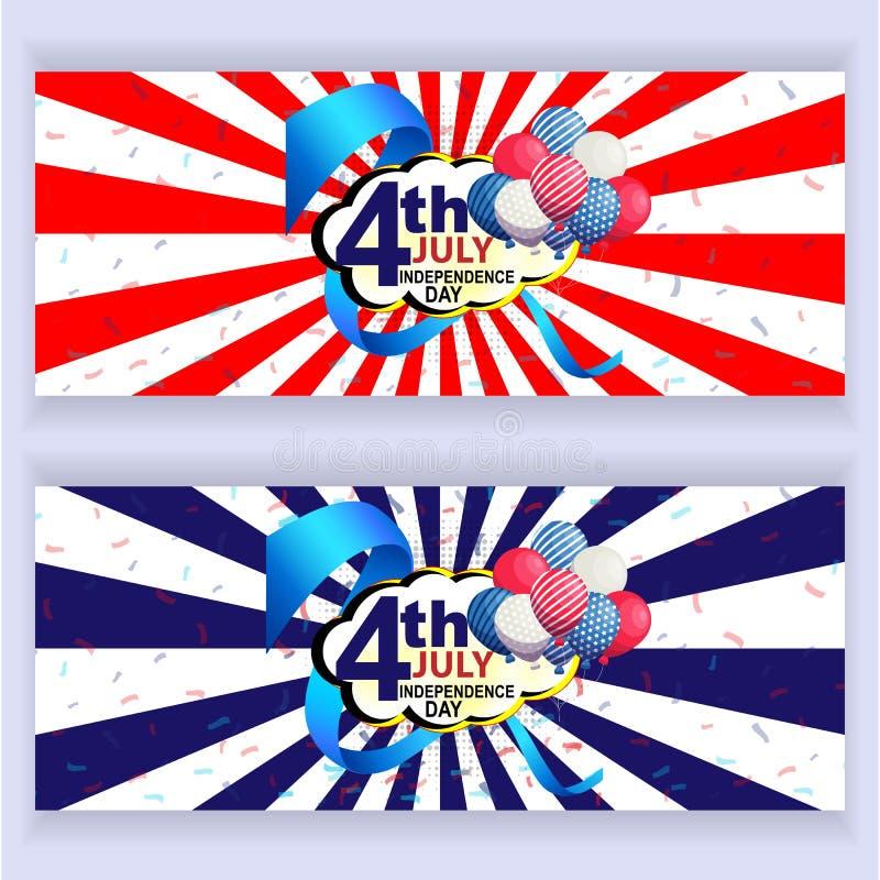 Illustrazione festiva di vettore di festa dell'indipendenza americana illustrazione vettoriale