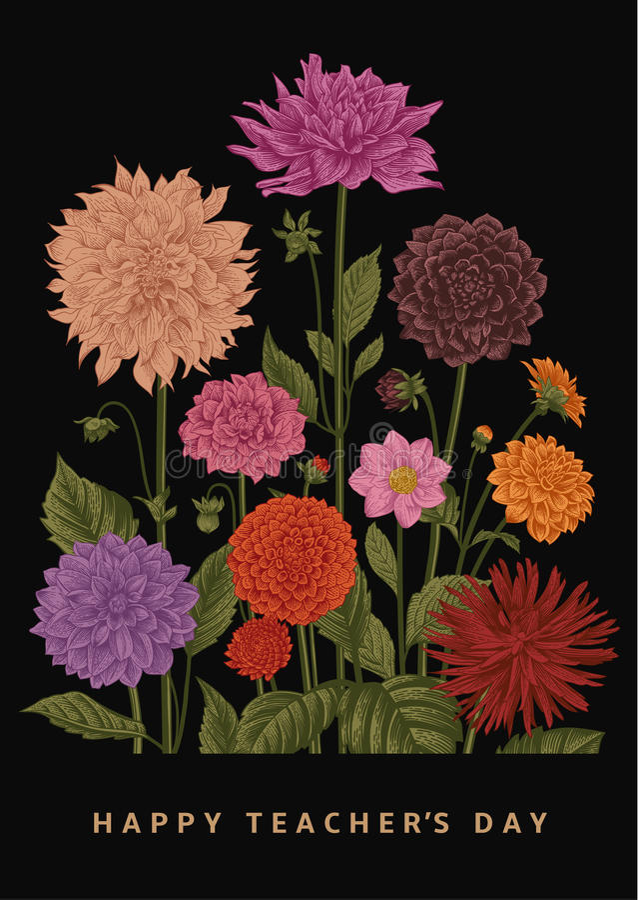 Illustrazione floreale botanica di vettore Giorno felice del ` s dell'insegnante dalie royalty illustrazione gratis
