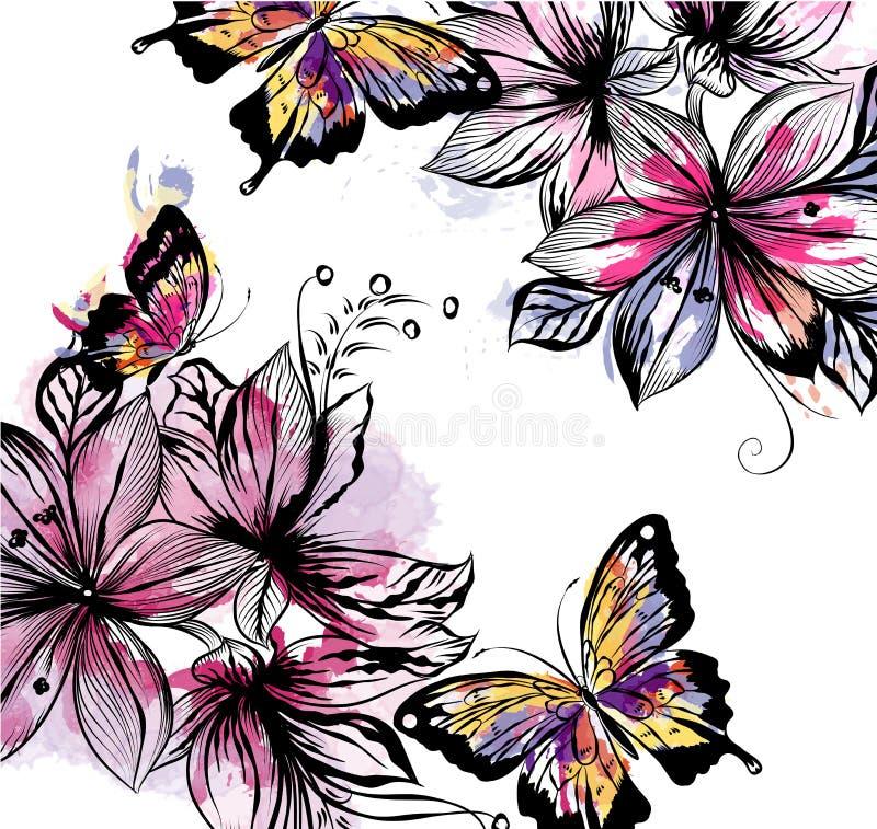 Illustrazione floreale con i fiori e le farfalle di vettore nel wate royalty illustrazione gratis