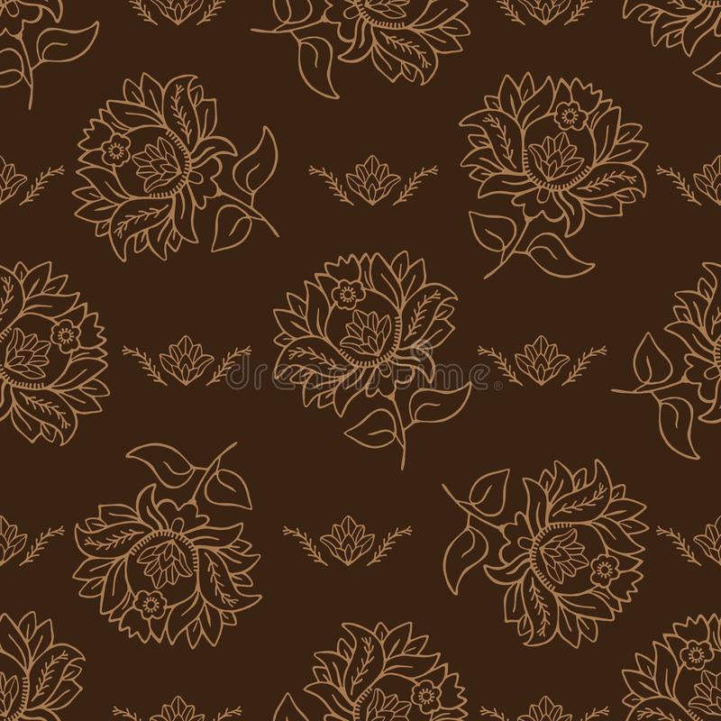 Illustrazione floreale del damasco di arabesque persiano disegnato a mano seamless illustrazione di stock