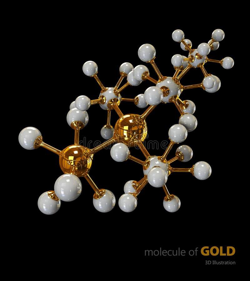 Illustrazione, fondo nero isolato molecola dell'oro illustrazione vettoriale