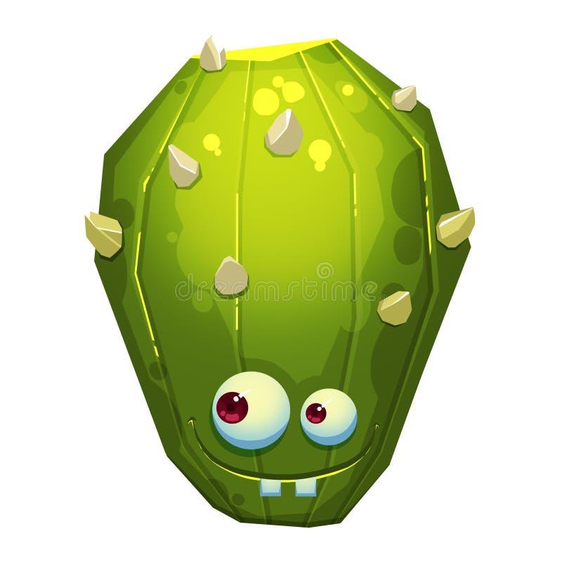 Illustrazione: Forest Green Cactus Monster fantastico isolato su fondo bianco realistico royalty illustrazione gratis
