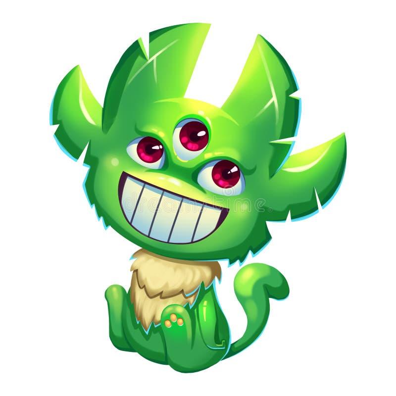 Illustrazione: Forest Green Skin Monster Boy fantastico su fondo bianco royalty illustrazione gratis