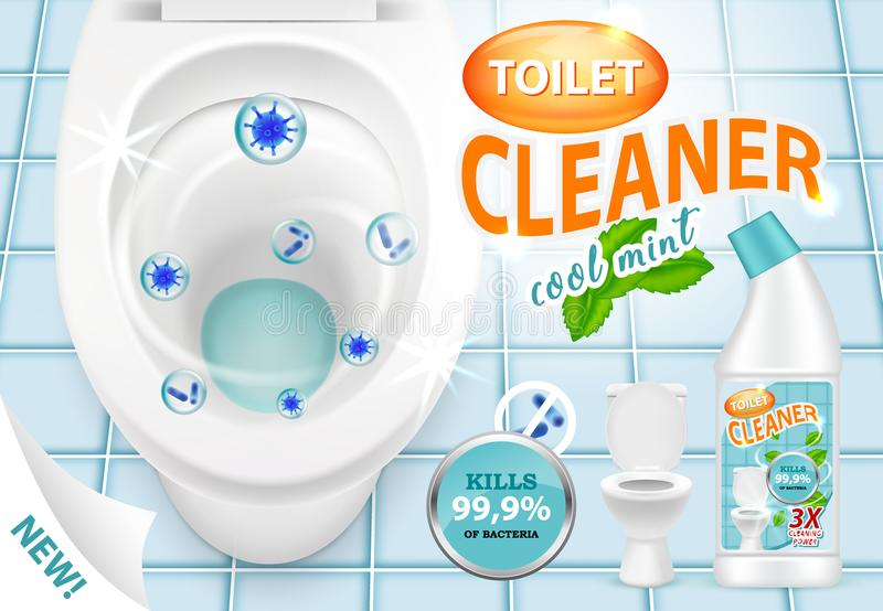 Illustrazione fresca di vettore 3d dell'annuncio del pulitore della toilette della menta royalty illustrazione gratis