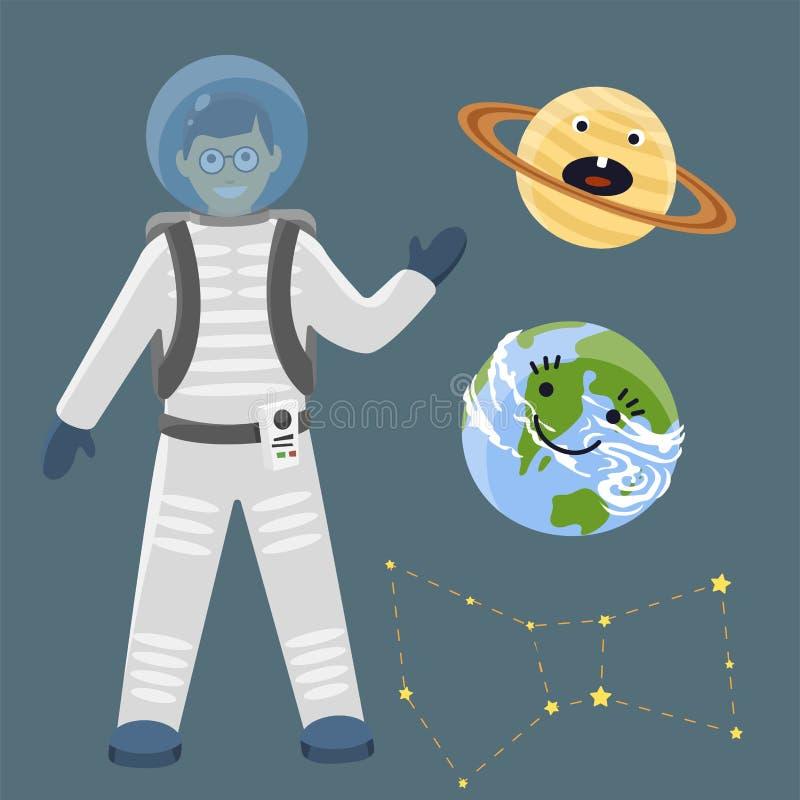 Illustrazione futura di vettore del cosmonauta dell'astronave di esplorazione del sistema solare dell'astronave dei pianeti di at illustrazione vettoriale