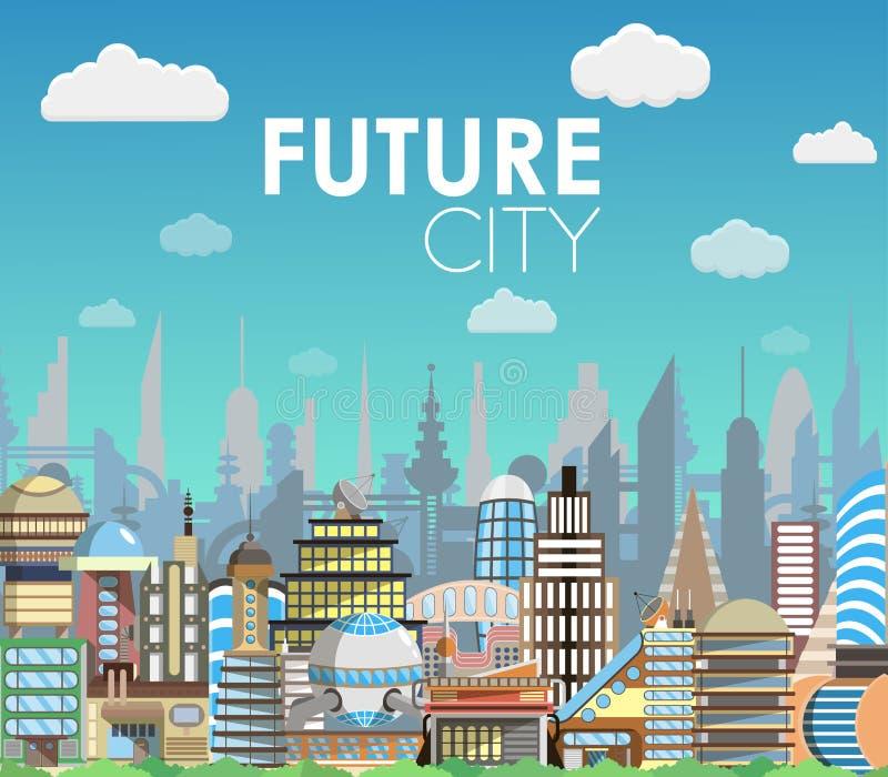 Illustrazione futura di vettore del fumetto del paesaggio della città Insieme moderno della costruzione illustrazione vettoriale