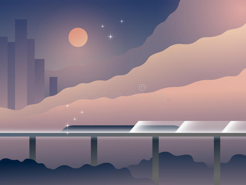 Illustrazione futura di vettore del fumetto del paesaggio di trasporto royalty illustrazione gratis