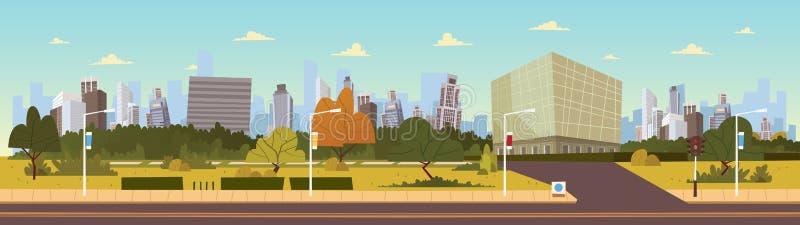 Illustrazione: Illustrazione futura di vettore del fumetto del paesaggio della città Insieme moderno della costruzione illustrazione vettoriale