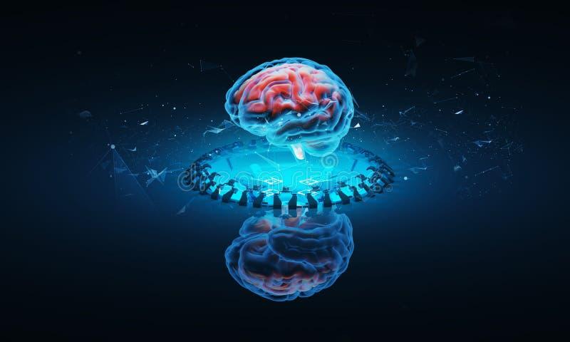Illustrazione futuristica dell'ologramma del cervello illustrazione di stock