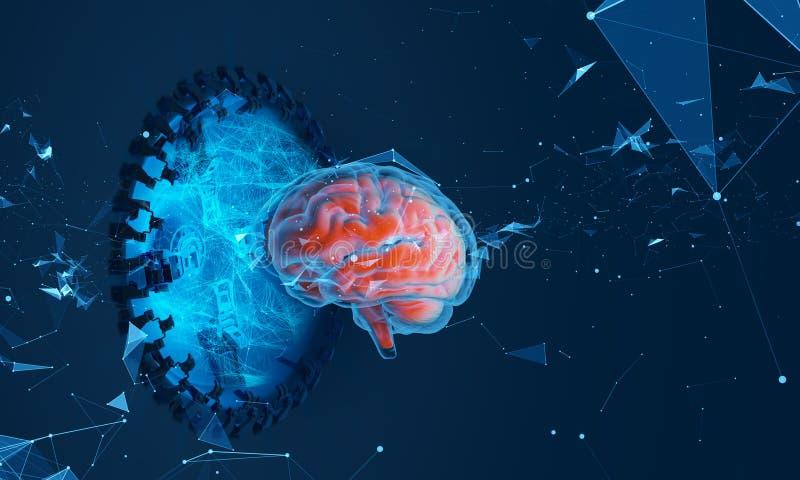 Illustrazione futuristica dell'ologramma del cervello illustrazione vettoriale
