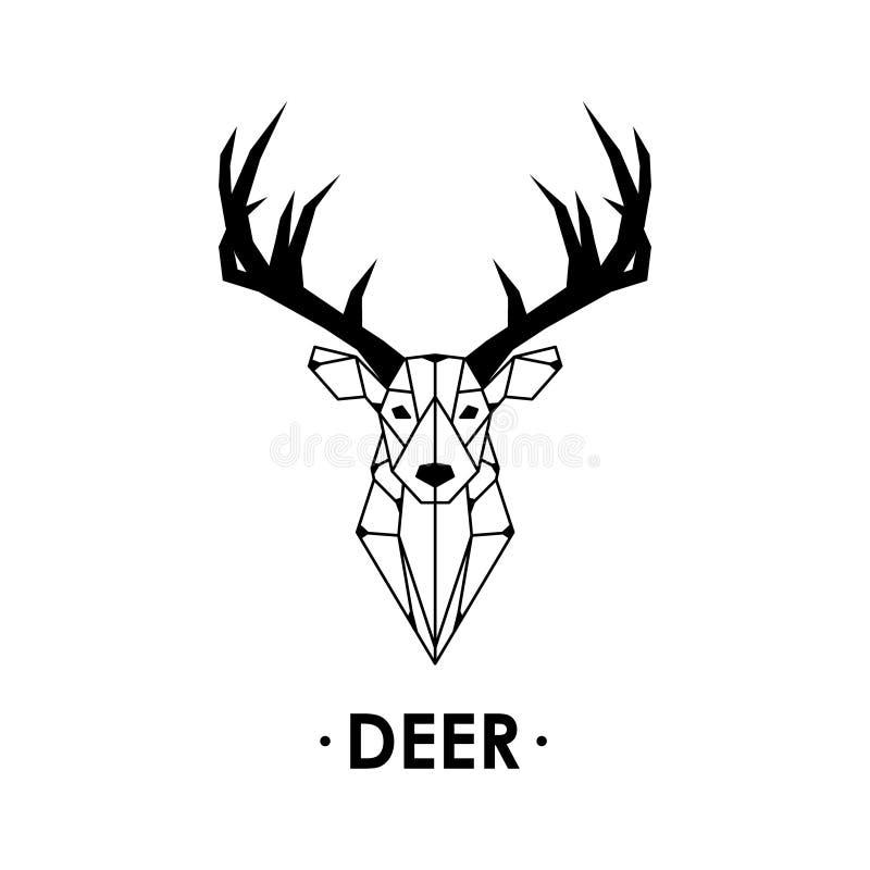 Illustrazione geometrica dei cervi isolata su fondo bianco royalty illustrazione gratis