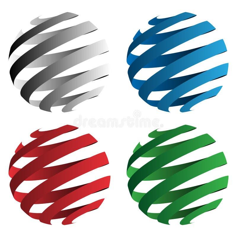 Illustrazione geometrica di vettore di forme della sfera a spirale del nastro 3D isolata in nero, in rosso, in blu ed in verde illustrazione vettoriale