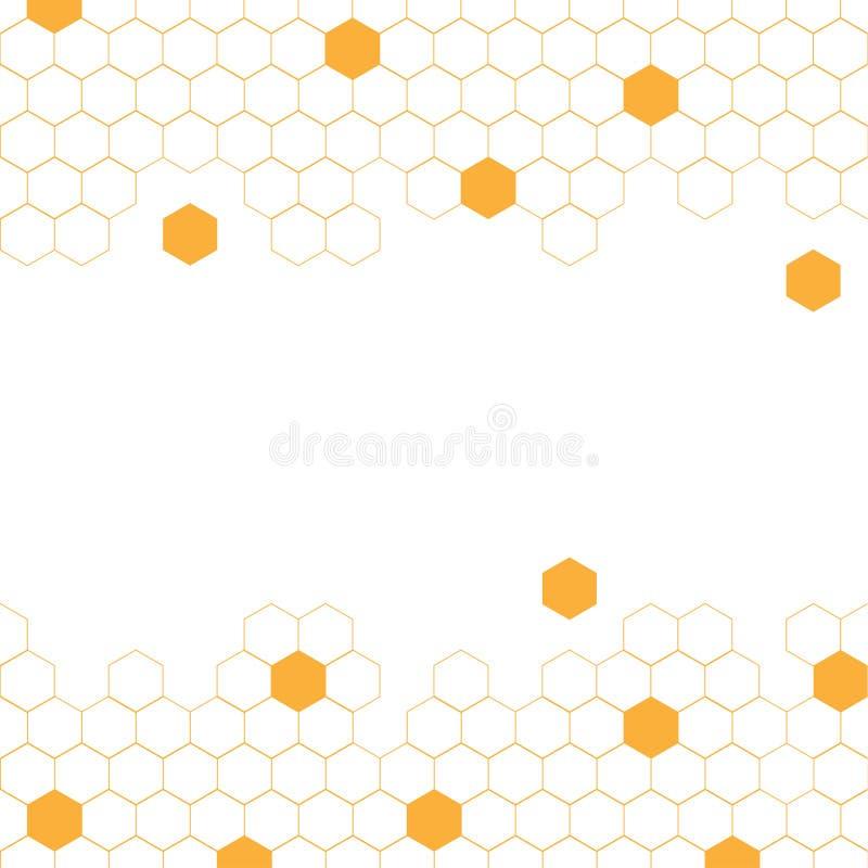Illustrazione gialla del fondo di vettore dell'estratto dell'alveare di esagono illustrazione di stock