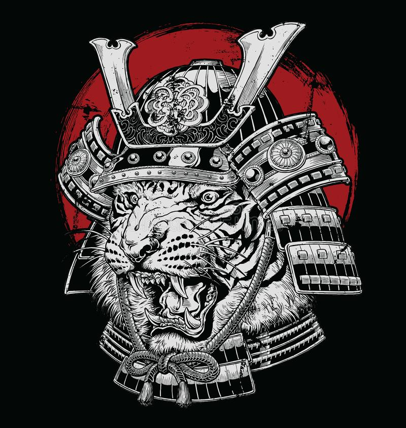 Illustrazione giapponese altamente dettagliata disegnata a mano di vettore del samurai della tigre su terra nera illustrazione di stock