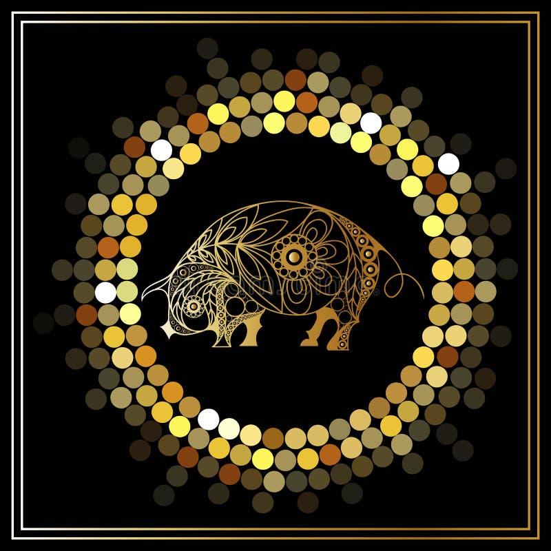 Illustrazione grafica con il maiale decorativo 10 royalty illustrazione gratis