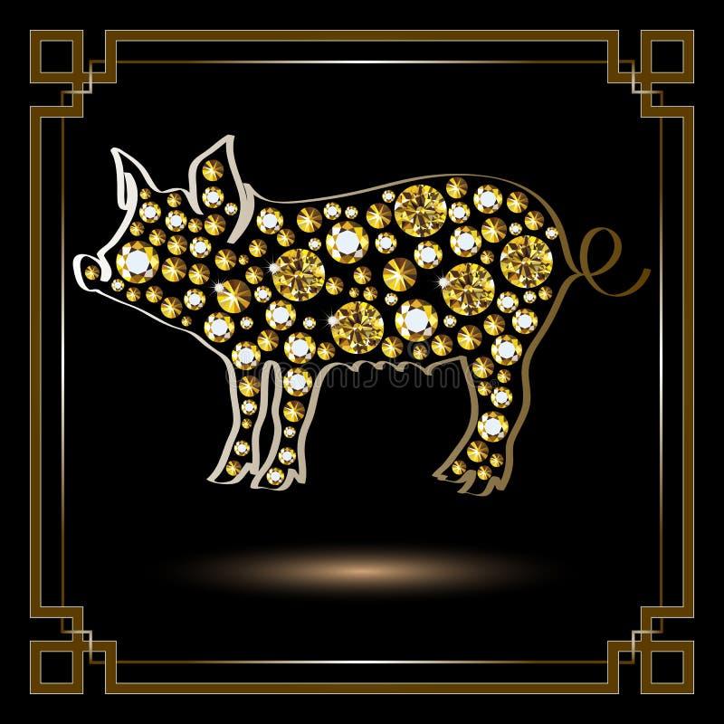 Illustrazione grafica con il maiale decorativo 1 royalty illustrazione gratis