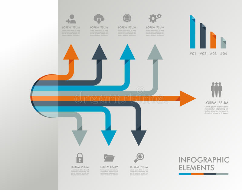 Illustrazione grafica degli elementi del modello di Infographic. illustrazione vettoriale
