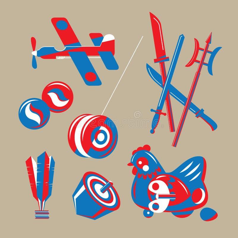 Illustrazione grafica dei giocattoli nostalgici di Hong Kong illustrazione di stock
