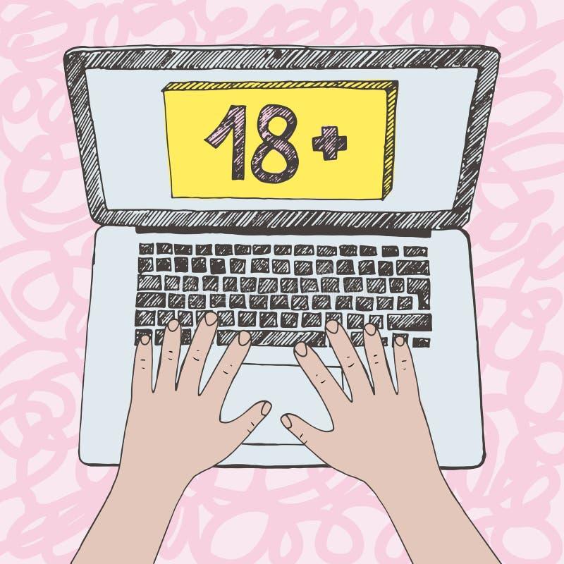 Illustrazione grafica delle mani del bambino sulla tastiera del computer portatile Il contenuto in Internet ha firmato 18 o più v illustrazione di stock