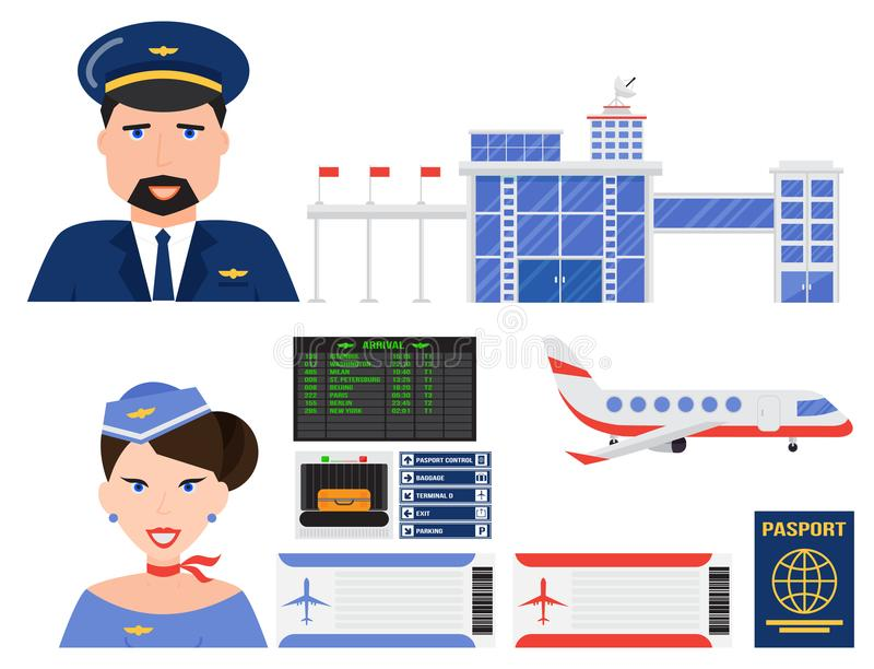 Illustrazione grafica di simbolo di viaggio della mosca del trasporto di aeroporto dell'aeroplano di linea aerea stabilita di vet royalty illustrazione gratis