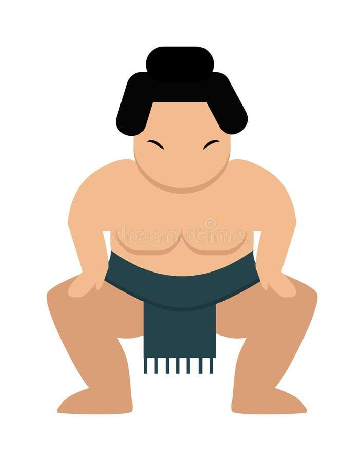 Illustrazione grassa giapponese di vettore del lottatore di sumo del fumetto arrabbiato illustrazione di stock