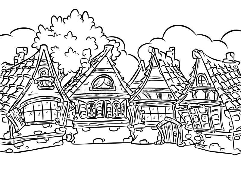 Illustrazione a graticcio medievale della pagina di coloritura del villaggio delle case royalty illustrazione gratis