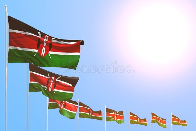 Illustrazione graziosa della bandiera 3d di Giorno dei Caduti - molte bandiere del Kenya hanno disposto diagonale su cielo blu co illustrazione di stock