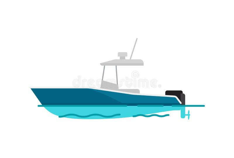 Illustrazione graziosa di vettore del modello di colore della barca di mare illustrazione di stock