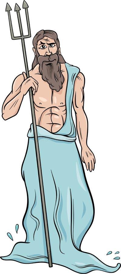 Illustrazione greca del fumetto del poseidon del dio royalty illustrazione gratis