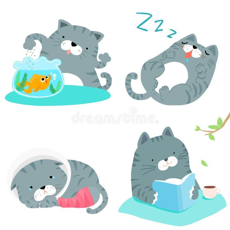 Illustrazione grigia del pacchetto di azione di varietà del gatto illustrazione di stock