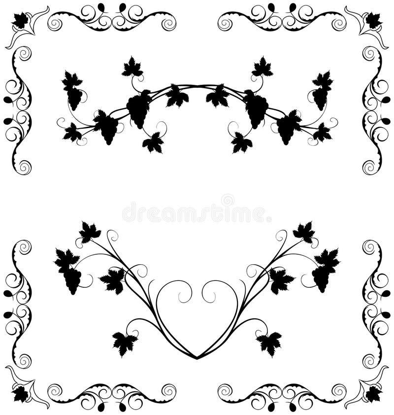 Illustrazione il ramoscello dell'uva decorato illustrazione vettoriale