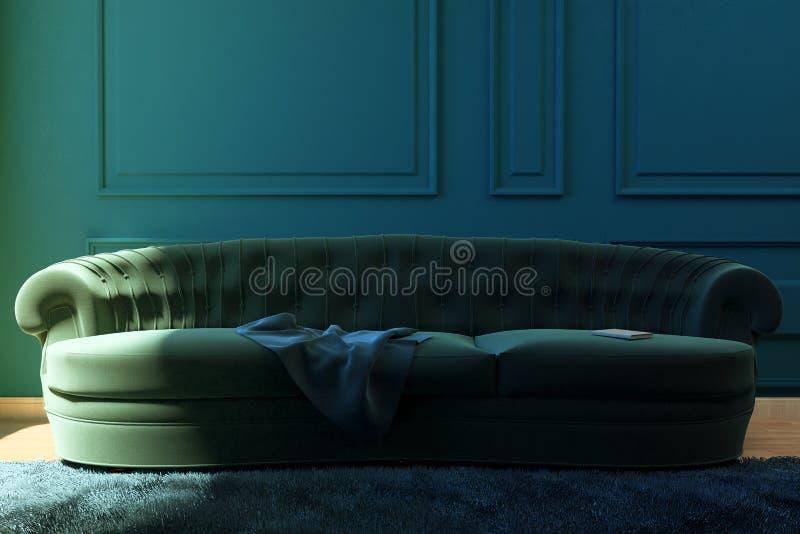 Illustrazione il salone con un sofà immagine stock libera da diritti