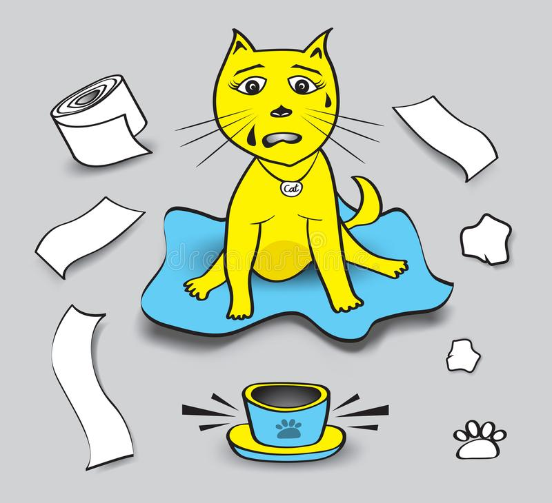 illustrazione impertinente di vettore del gatto, carta igienica del gioco del gatto, ciotole dell'animale domestico senza aliment illustrazione di stock