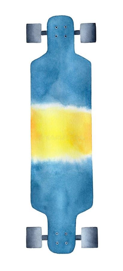 Illustrazione imprecisa del longboard moderno multicolore fotografia stock