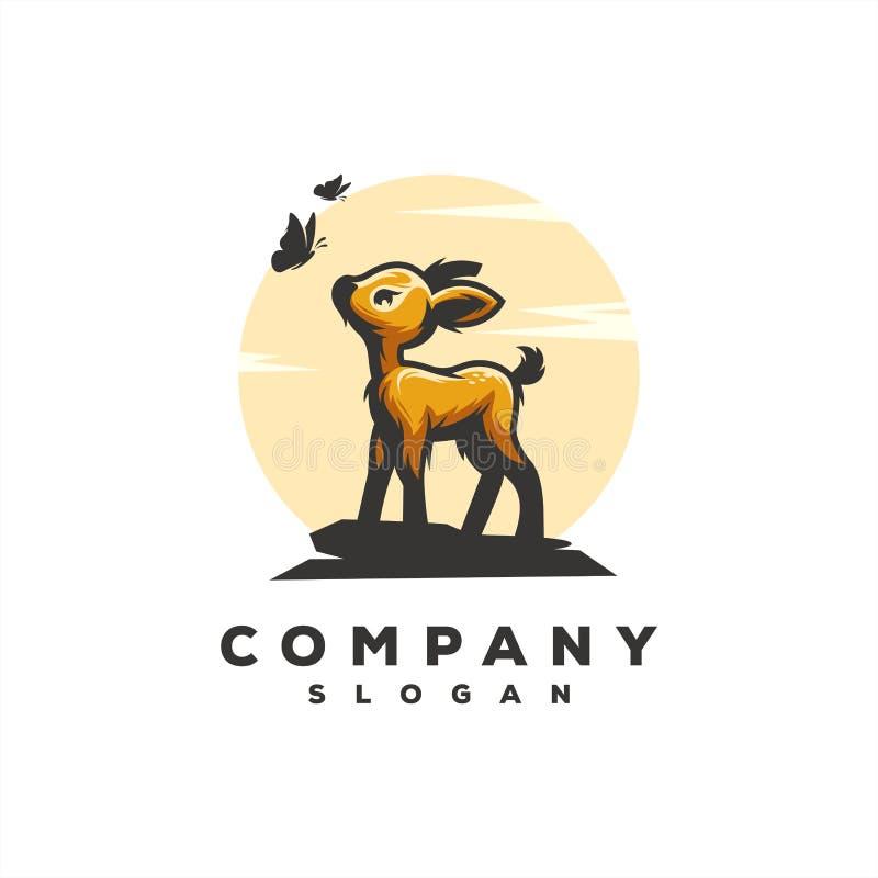Illustrazione impressionante di progettazione di vettore di logo dei cervi del bambino illustrazione vettoriale