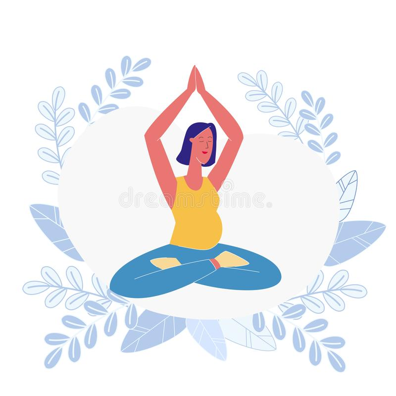 Illustrazione incinta di signora Meditating Flat Vector illustrazione di stock