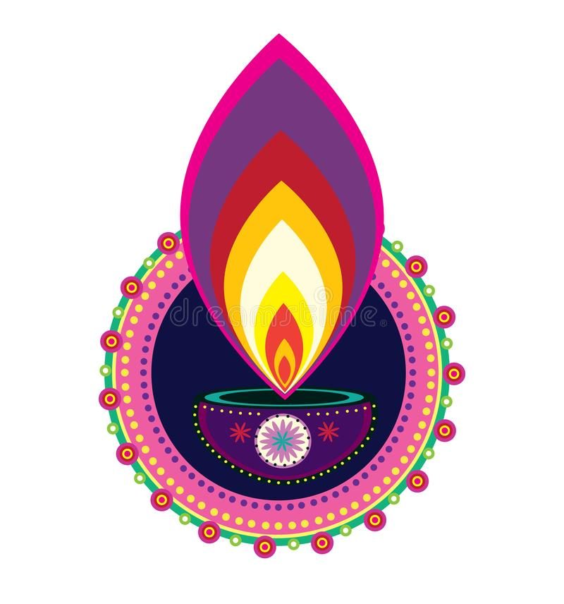 Illustrazione indiana dell'icona della luce della candela di Diwali dell'elemento del nuovo anno illustrazione vettoriale