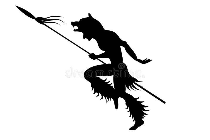 Illustrazione indiana di ballo con le siluette nere royalty illustrazione gratis