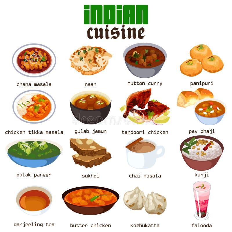 Illustrazione indiana di cucina dell'alimento illustrazione di stock