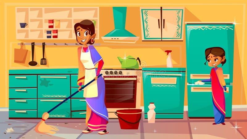 Illustrazione indiana di vettore della cucina di pulizia della casalinga royalty illustrazione gratis