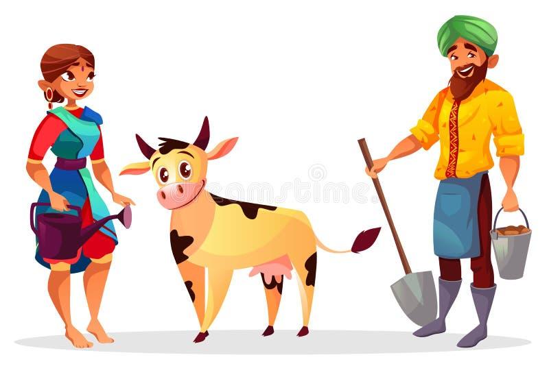Illustrazione indiana di vettore della mucca del bestiame e degli agricoltori royalty illustrazione gratis